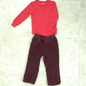Boys red thermal and black corduroy pants